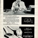 Original 1954 Ed Kummer SA Atlantic Watch Company Aristex 1950's Swiss Ad Publicite Suisse