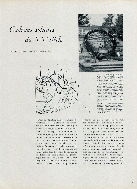 Cadrans Solaires du XXe Siecle by Lothar M Loske 1956 Swiss Magazine Article Suisse Horlogerie
