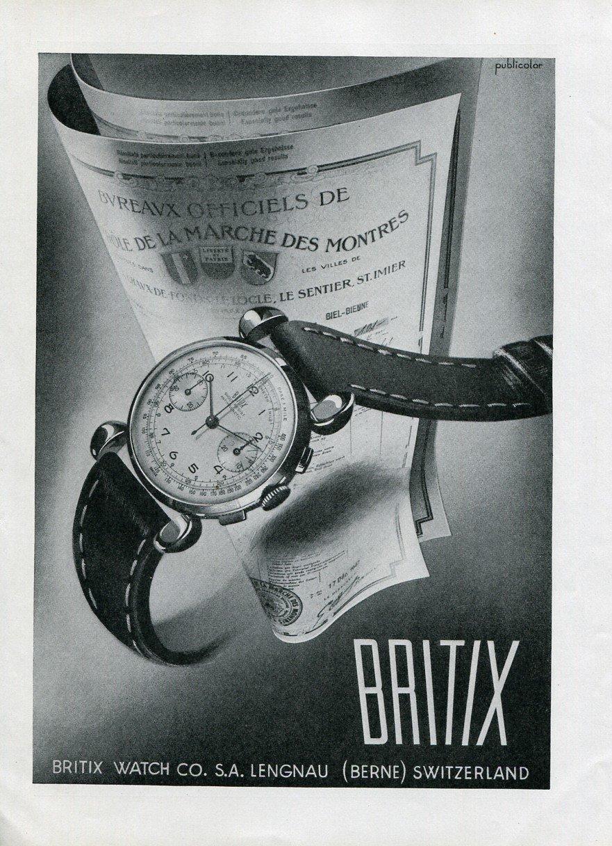 Original 1948 Britix Watch Co SA Switzerland Vintage 1940s Swiss Print Ad Publicite Suisse Montres