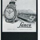 1948 Lanco Langendorf Watch Company Switzerland Original 1940's Swiss Print Ad Publicite Suisse