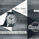Vintage 1956 Mondia Watch Company Paul Vermot & Co SA Swiss Print Ad Publicite Suisse Montres