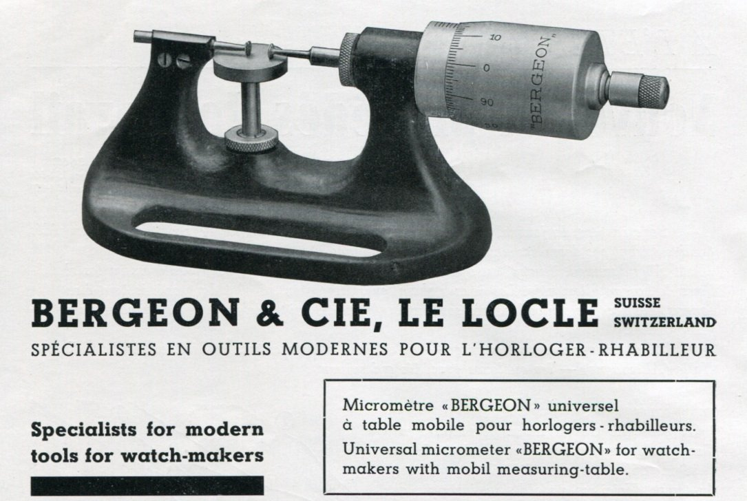 1940 Bergeon & Cie Le Locle Switzerland Swiss Print Ad Advertisement Publicite Suisse Horology