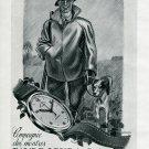 Vintage 1945 Favre-Leuba S.A. Hunter Dog 1940's Suisse Print Ad Publicite Suisse Schweiz