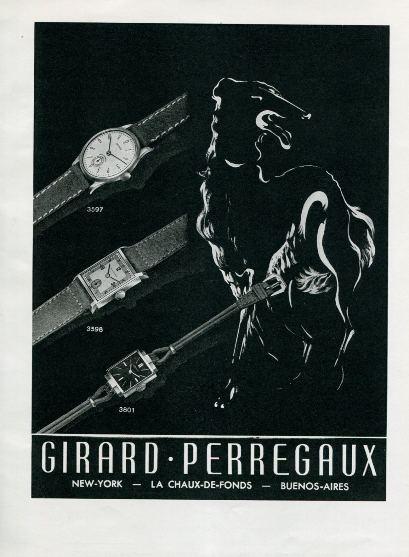1945 Girard-Perregaux Watch Company Original 1940's Swiss Print Ad Publicite Suisse Montres Mimo