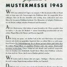 1945 Roamer Watch Company Gesprache Mustermesse Swiss Print Ad Publicite Suisse Schweiz