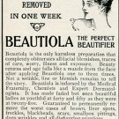 Original 1905 Beautiola E R Berry Chemical Co St Louis MO Early 1900's Magazine Ad Advertisement