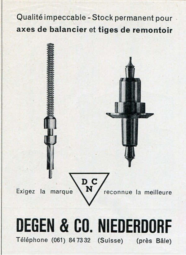 Degen & Co Niederdorf Switzerland DCN Vintage 1956 Swiss Print Ad Advert Suisse Horology