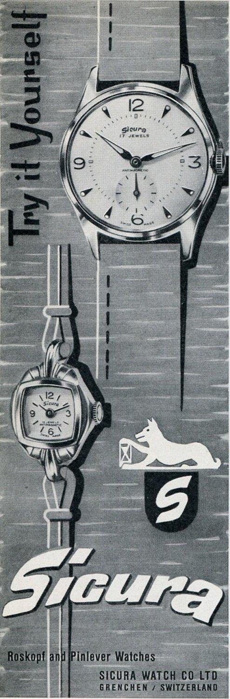 Sicura Watch Co Grenchen Switzerland 1956 Swiss Print Ad Suisse Publicite Montres