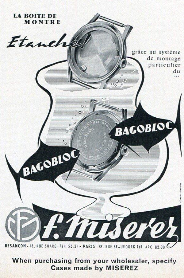 F Miserez Bagobloc Vintage 1960 Swiss Print Ad Publicite Suisse Horlogerie Boite de Montre
