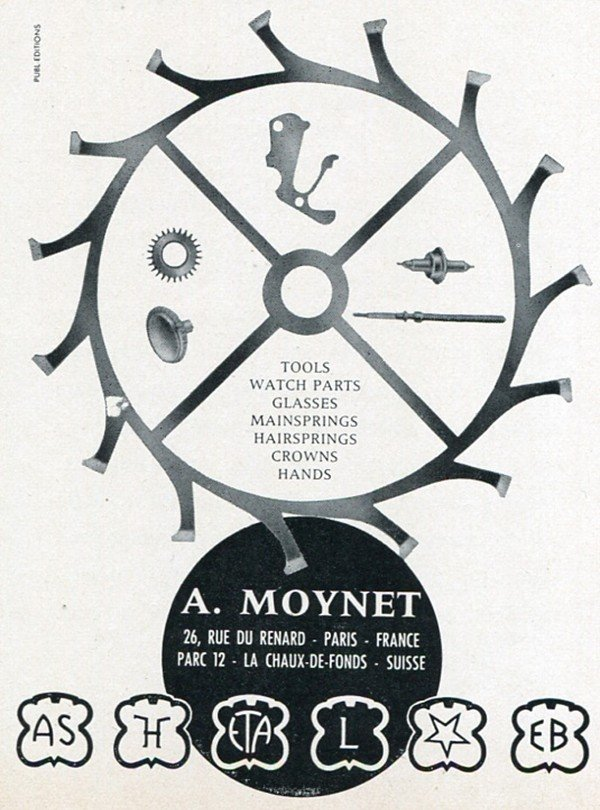 A. Moynet Vintage 1960 Swiss Print Ad Suisse Publicite Horology Horlogerie