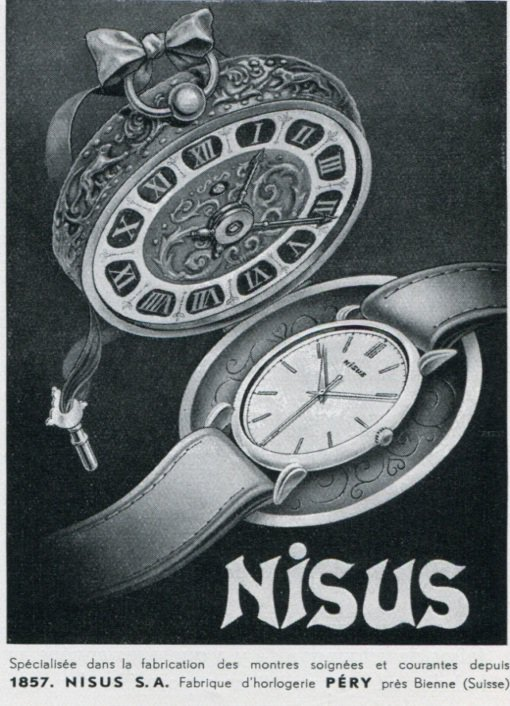 Nisus S.A. Watch Co Bienne Switzerland Original 1947 Swiss Print Ad Advert Publicite Suisse Montres