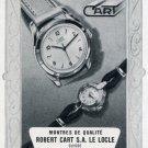 Robert Cart SA Watch Company Switzerland Vintage 1956 Swiss Print Ad Suisse Publicite Montres