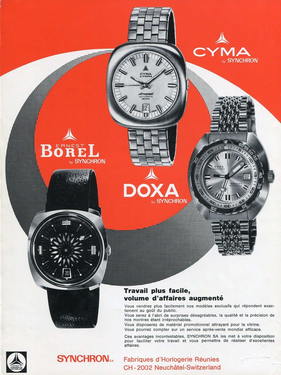 1972 Synchron SA Watch Company Ernest Borel Doxa Cyma Swiss Ad Advert Publicite Suisse Montres