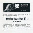 1969 FBR Fabriques de Balanciers Reunies Employment Advert Publicite Suisse Swiss Print Ad