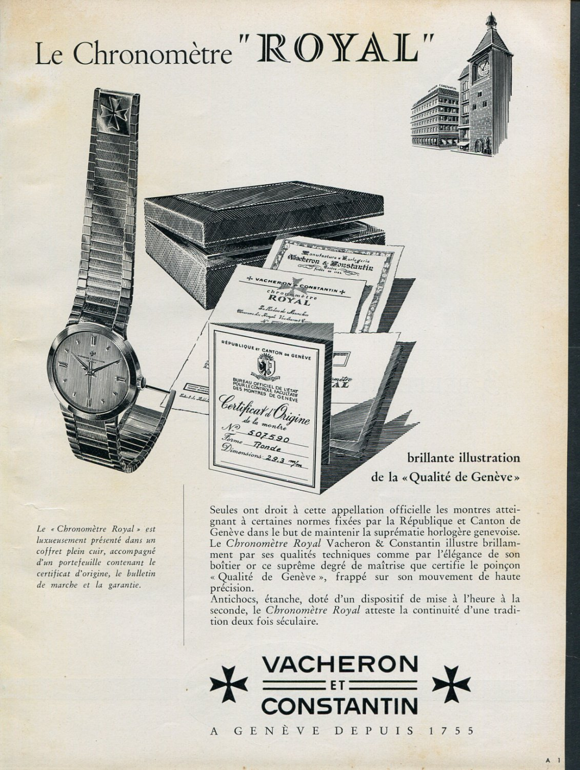 1956 Vacheron Constantin Chronometre Royal Watch Advert Publicite Suisse Montres Swiss Print Ad