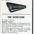Universo SA Switzerland Vintage 1969 Employment Advertisement Publicite Suisse Swiss Print Ad