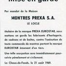 Montres Prexa SA 1969 Swiss Ad Mise en Garde Publicite Suisse Prexa Eurostar Watch Advert