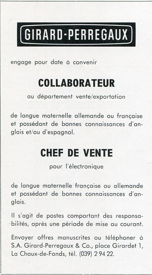 SA Girard-Perregaux & Co Watch Co 1969 Publicite Employment Advertisement Swiss Print Ad Suisse