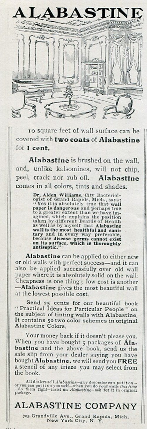 1905 Alabastine Company Grand Rapids MI NYC Wall Tint Early 1900's Vintage Print Ad Advert