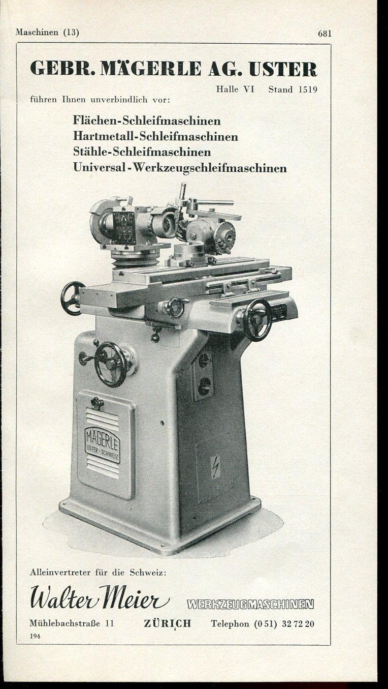 Vintage 1947 Magerle AG Uster Walter Meier Swiss Print Ad Publicite Suisse Schweiz Suiza