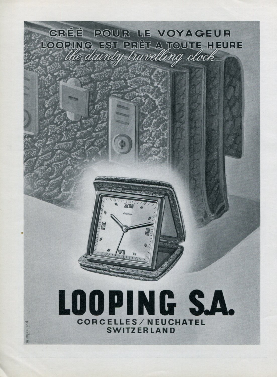 Vintage 1947 Looping Clock Company Looping SA Suisse Publicite Swiss Print Ad Advert
