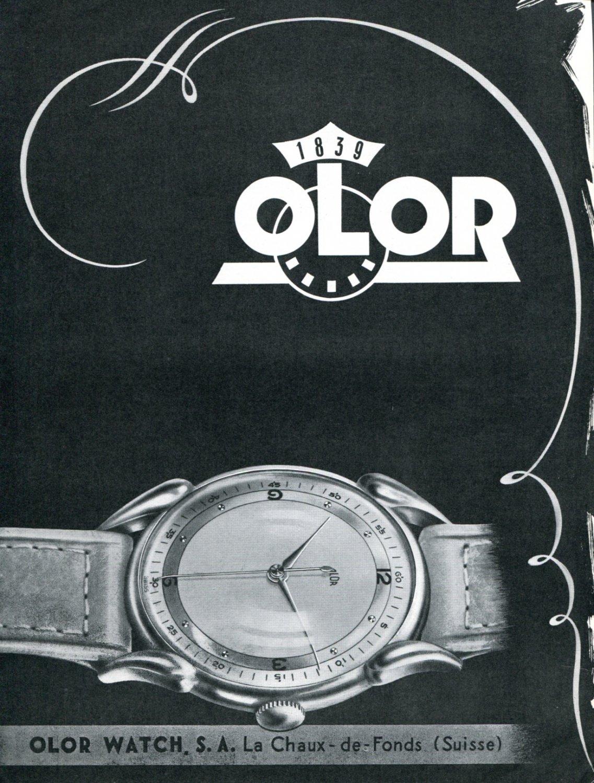 Vintage 1947 Olor Watch Company Montres Olor SA Suisse Publicite Swiss Print Ad