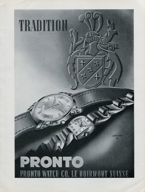 Vintage 1947 Pronto Watch Company Montres Pronto SA Suisse Publicite Swiss Ad Advert Switzerland