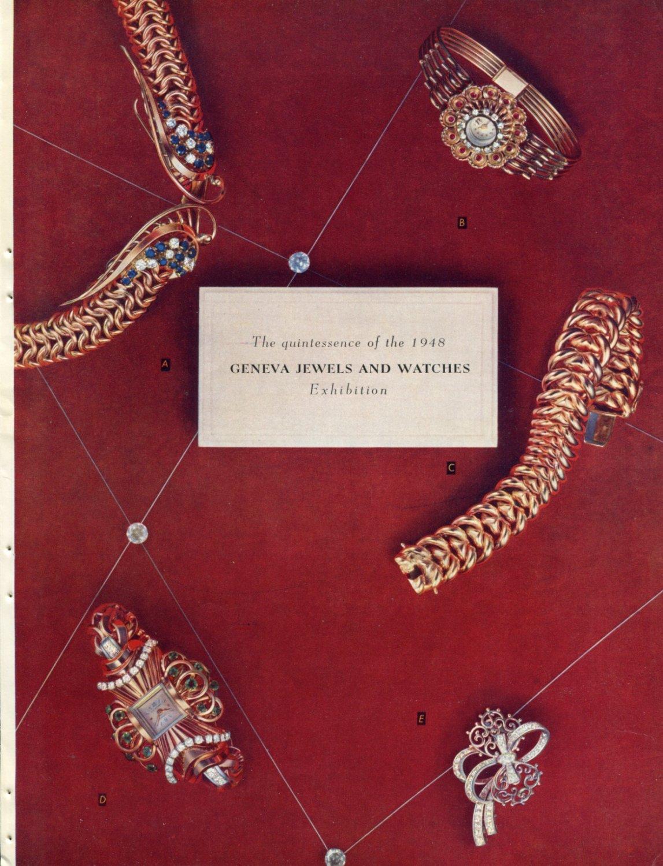 Vintage 1948 Geneva Jewels and Watches Exhibition Swiss Magazine Clipping Suisse Switzerland