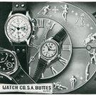 Vintage 1945 Buttes Watch Co SA Switzerland BWC BUT Butex Swiss Print Ad Suisse Publicite Montres