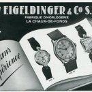 Vintage 1945 Eigeldinger & Co SA Watch Co Switzerland Swiss Print Ad Suisse Publicite Montres