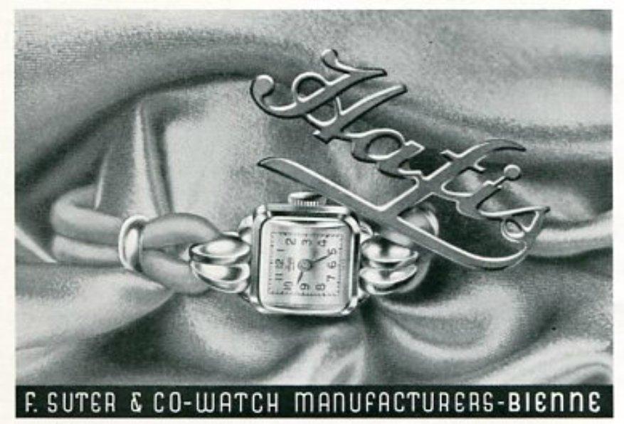 Vintage 1945 Hafis F Suter & Co Watch Manufacturers Switzerland Swiss Print Ad Suisse Publicite