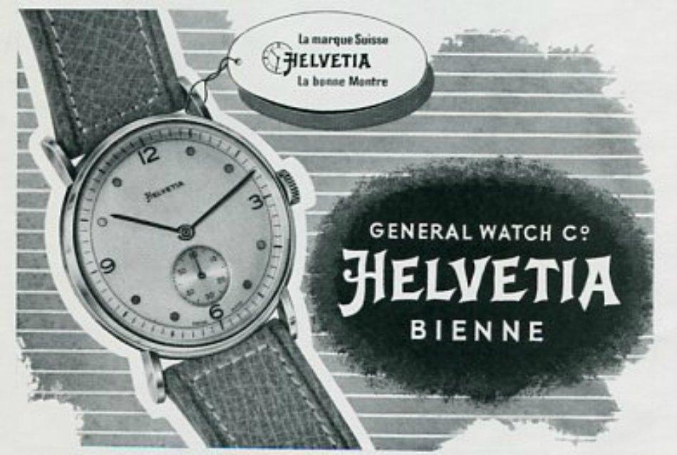 Vintage 1945 Helvetia General Watch Co Switzerland Swiss Print Ad Suisse Publicite Montres Schweiz