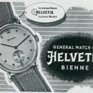 Vintage 1945 Helvetia General Watch Co Switzerland Swiss Print Ad Suisse Publicite Montres Schweiz