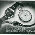 Vintage 1945 Societe Horlogere Reconvilier Watch Co Switzerland Swiss Print Ad Suisse Publicite