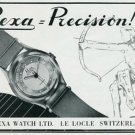 Vintage 1945 Prexa Watch Company Switzerland Swiss Print Ad Suisse Publicite Montres Schweiz Suiza