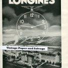 1945 Longines Watch Co Vintage Swiss Print Ad Suisse Publicite Montres Swiss Schweiz Switzerland