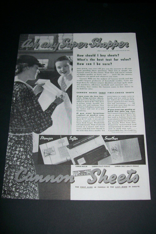 Vintage 1936 Cannon Mills Inc NYC Original 1930s Print Ad Publicite Advert Cannon Sheets