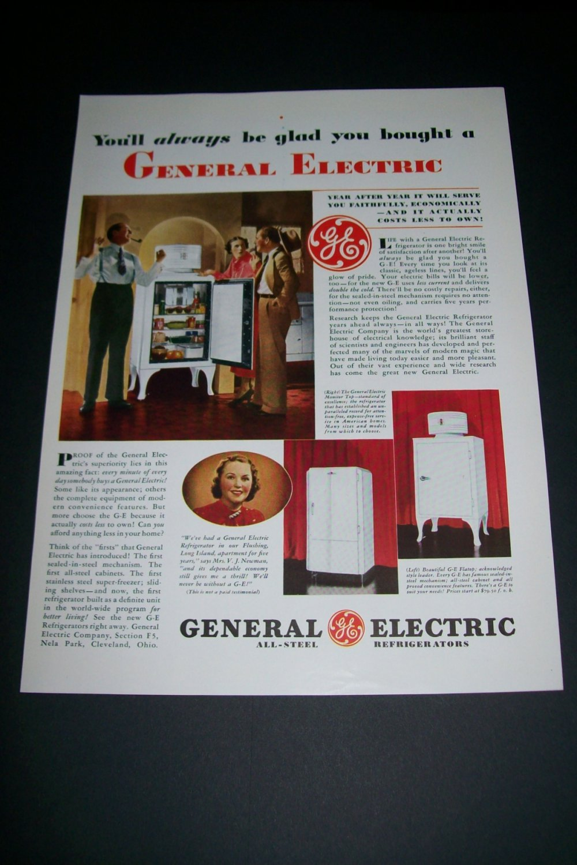 Vintage 1936 General Electric All Steel Refrigerator Original 1930s Print Ad Publicite Advert GE