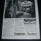 Vintage 1936 Simmons Beautyrest Mattress Bed Floating Action Original 1930s Print Ad Advert