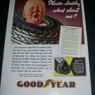 Vintage 1936 Goodyear Tires Double Eagle Airwheels Lifeguard Tubes Rubber 1930s Print Ad Advert