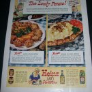 Vintage 1943 Heinz 57 Varieties The Lowly Potato A Good Source of Iron Print Ad Advert WW2 WWII Era