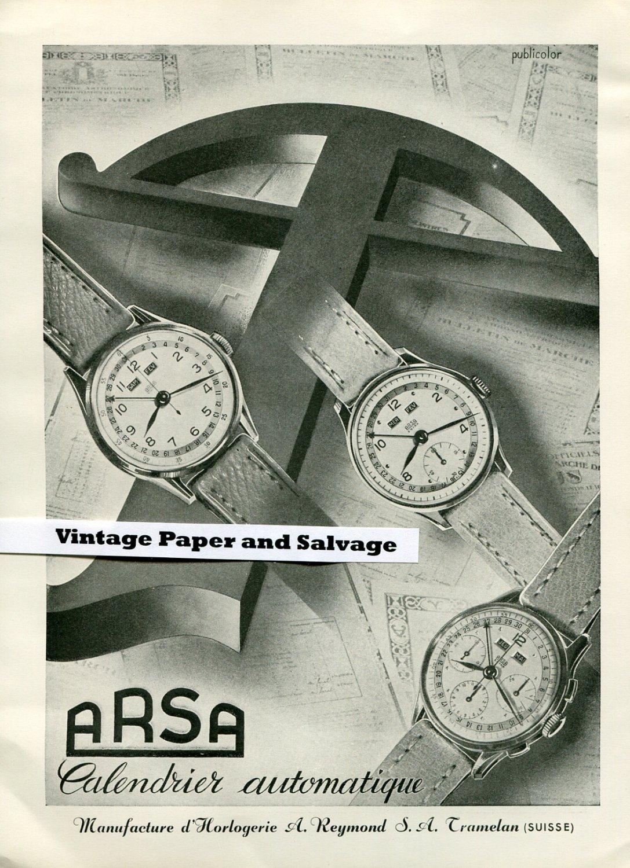 Vintage 1945 A Reymond SA Arsa Watch Co Switzerland 1940s Swiss Print Ad Suisse Publicite