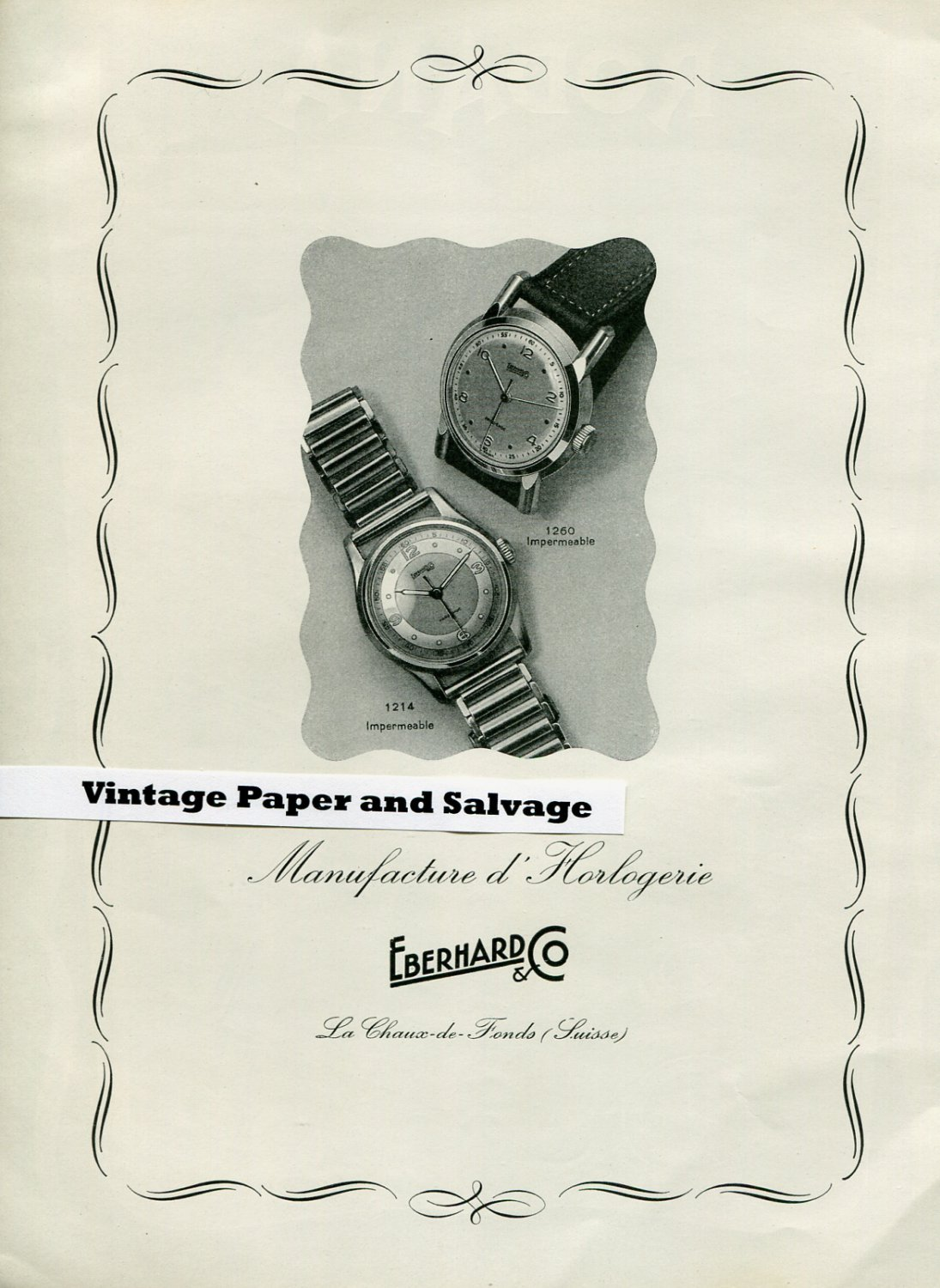 1945 Eberhard & Co Watch Company Switzerland Swiss Print Ad Suisse Publicite Montres
