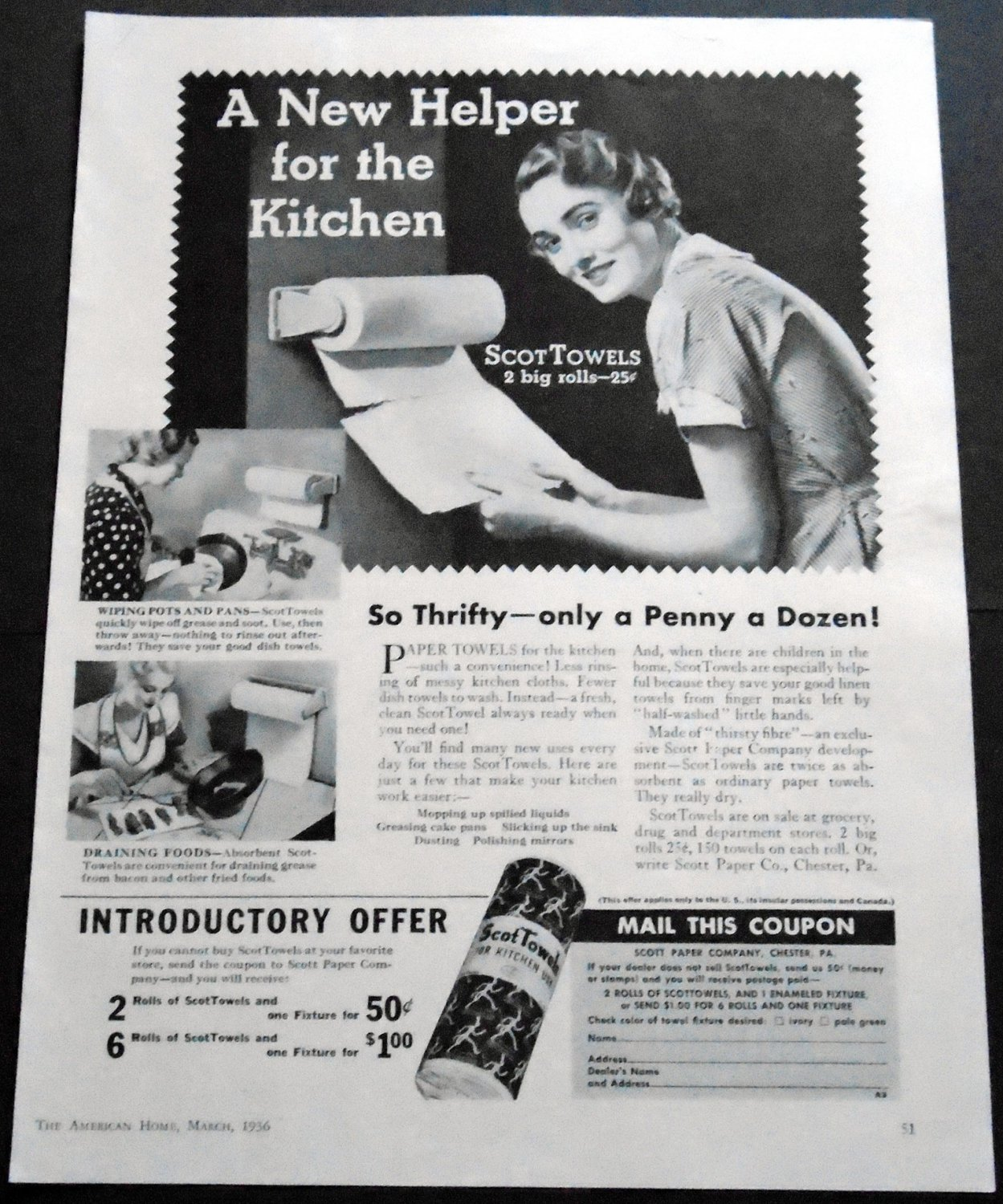 Vintage 1936 Scott Paper Company Chester PA ScotTowels Towel Kitchen Helper 1930s Print Ad Advert