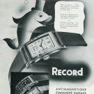 Vintage 1940 Record Watch Co SA Geneva Tramelan Swiss Print Ad Publicite Suisse Montres Schweiz