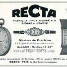 1931 Recta Watch Co Fabrique d'Horlogerie SA Original Swiss Ad Publicite Suisse Montres