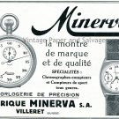 1931 Fabrique Minerva SA Watch Co Horlogerie de Precision Swiss Print Ad Publicite Suisse Montres