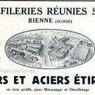 Vintage 1931 Trefileries Reunies SA Fers et Aciers Etire Swiss Print Ad Publicite Suisse Horlogerie