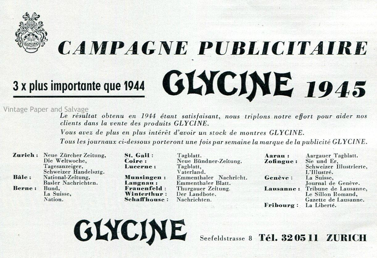 Vintage 1945 Glycine Watch Company Switzerland 1940s Swiss Print Ad Publicite Suisse Montres Schweiz