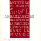 Vintage 1952 Solvil Ambassadeurs du Gout et de La Precision Genevoise Swiss Ad Suisse Publicite
